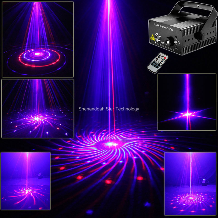 Mini R&B 12 Patterns Laser Blue LED Club Party Bar DJ Xmas ...